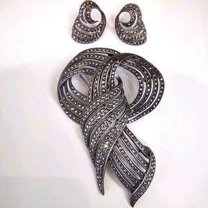 Judith Jack sterling Marcasite earring brooch set